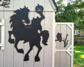 Headless Horseman Halloween Silhouettes LARGE- Yard decor - shadows