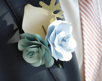 Paper Boutonniere - Roses & Cala Lily - Pin Backing/No straight pin needed - Custom Colors