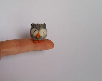 Little needle felted owl, miniature quirky felt owl