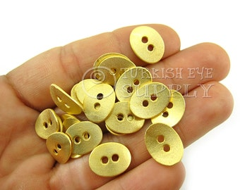 20 Pc 22K Gold Plated Oval Metal Buttons, Jewelry Supplies, Turkish Jewelry