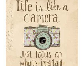 "Life is Like a Camera 8x5"" tag"