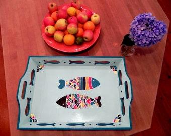 Les Pop Art Poisson Extraordinaire, Decorative Wooden Hand Painted Serving Tray