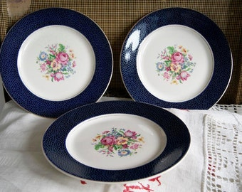 Vintage Royal Harvey (Gibson&Sons Ltd) Staffordshire England Set of 3 Dinner Plates. Circa 1950-55