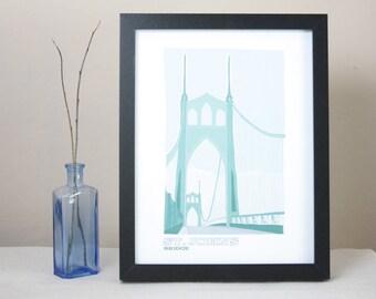 St. Johns Bridge Illustrated Print / Portland Oregon Art Print / Portland Bridges Wall Art