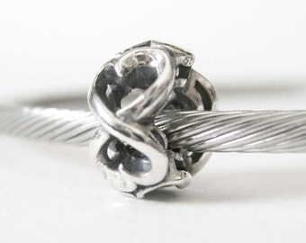Sterling Silver Twined Hearts European Style Large Hole Bead