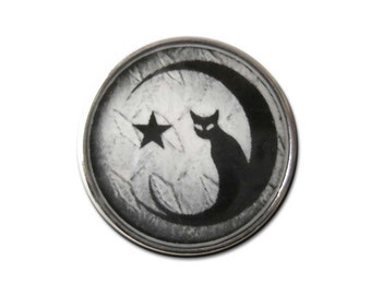 Gothic Black Cat Crescent Moon Snap Charm Fits 18-20mm Ginger Snaps, Noosa, Magnolia & Vine, Others