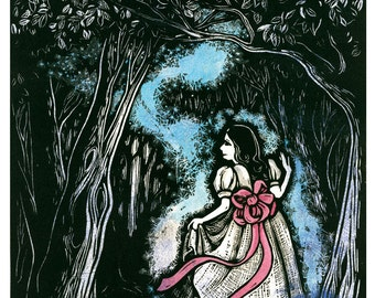 Child of Light - Original Linoleum Printmaking of Girl Walking Through the Forest