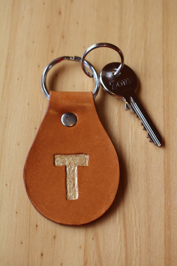 Initial t keychain hand carved leather key by