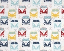 SHIPS SAME DAY Premier Prints Love Bus Cars Navy Fabric - Yellow, Red, Light Blue , Navy, White Home Decor Fabric - Fabric by the yard