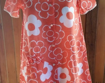 Retro sheer orange and white floral buttoned gown size 14