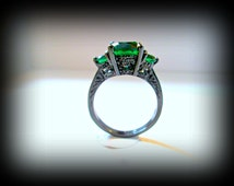 Black gold filled ring-green cubic zirconia black gold ring-gothic ring-wedding jewellery-red stone ring