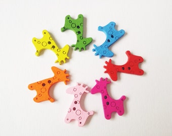 Giraffe Shape Wooden Buttons, Mixed Color, about 25mm long, 20mm wide, 2.5mm thick
