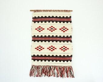 Vintage Crochet Wall Hanging - Tapestry - Textile Art  - Mid Century - Folk Art