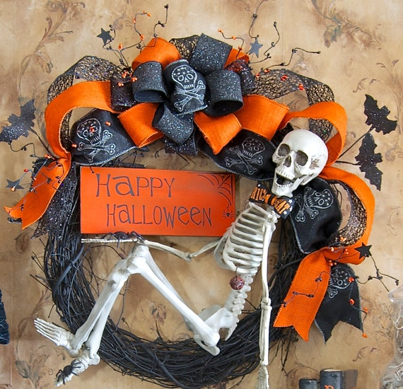 Items similar to Front door wreath, Skeleton Wreath ...