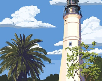 Key West Lighthouse, Florida Day Scene (Art Prints available in multiple sizes)