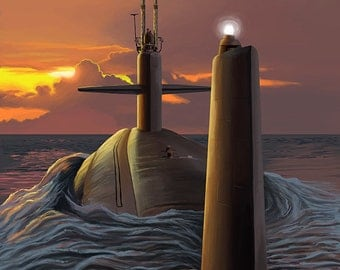 Submarine and Sunset (Art Prints available in multiple sizes)
