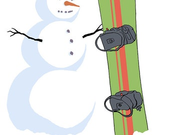 Snowman with Snowboard (Art Prints available in multiple sizes)