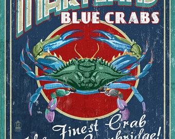 Cambridge, Maryland - Blue Crabs Vintage Sign (Art Prints available in multiple sizes)