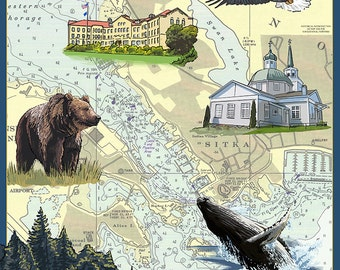 Sitka, Alaska - Nautical Chart (Art Prints available in multiple sizes)