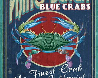 Pismo Beach, California - Blue Crabs Vintage Sign (Art Prints available in multiple sizes)