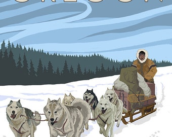 Joseph, Oregon - Dog Sled Scene (Art Prints available in multiple sizes)