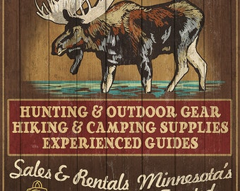 Minnesota - Moose Northwoods Lodge Vintage Sign (Art Prints available in multiple sizes)