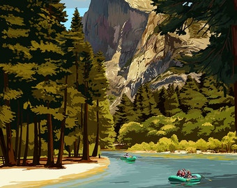 Merced River Rafting - Yosemite National Park, California (Art Prints available in multiple sizes)