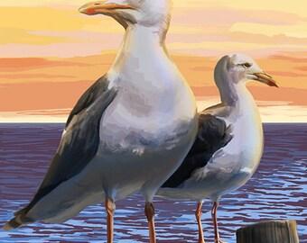 Cape Cod, Massachusetts - Seagulls (Art Prints available in multiple sizes)