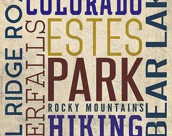 Estes Park Village, Colorado - Typography (Art Prints available in multiple sizes)