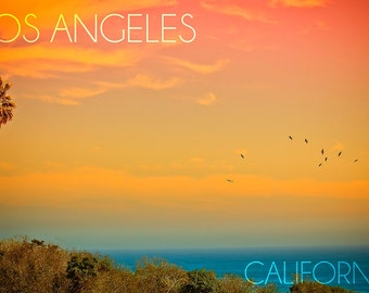 Los Angeles, California - Sunset and Birds (Art Prints available in multiple sizes)