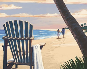 Santa Monica, California - Adirondack Chairs and Sunset (Art Prints available in multiple sizes)
