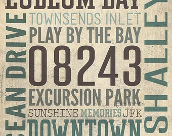 Sea Isle City, New Jersey - Typography (Art Prints available in multiple sizes)