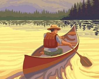 Coeur D'Alene, Idaho - Canoe Scene (Art Prints available in multiple sizes)
