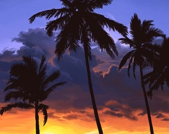 Palms and Sunset (Art Prints available in multiple sizes)