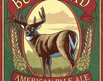 White Tailed Deer Ale - Vintage Sign (Art Prints available in multiple sizes)