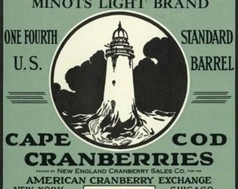 Cape Cod, Massachusetts - Minots Light Brand Cranberry Label (Art Prints available in multiple sizes)