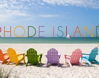 Rhode Island - Colorful Beach Chairs (Art Prints available in multiple sizes)