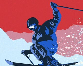 Oak Mountain - Speculator, New York - Colorblocked Skier (Art Prints available in multiple sizes)