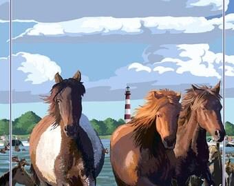 Maryland - Pony Swim (Art Prints available in multiple sizes)