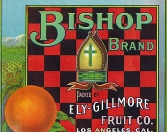 Los Angeles, California - Bishop Brand Citrus Label (Art Prints available in multiple sizes)