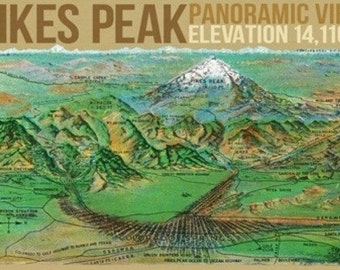 Panoramic View Map of Pikes Peak and the Region, Colorado (Art Prints available in multiple sizes)