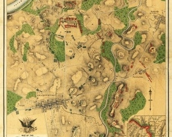 Battle of Antietam - Civil War Panoramic Map (Art Prints available in multiple sizes)