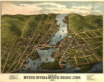 Mystic River, Connecticut - Panoramic Map (Art Prints available in multiple sizes)