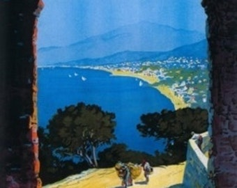 Alassio, Italy - West Italian Riviera Travel Poster (Art Prints available in multiple sizes)