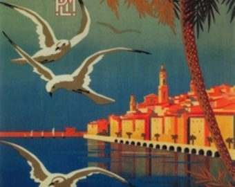 Menton, France - French Riviera Travel Poster # 1 (Art Prints available in multiple sizes)