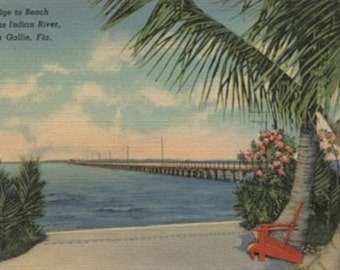 Eau Gallie, Florida - View of Indian River and Bridge (Art Prints available in multiple sizes)