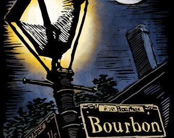 Bourbon Street - New Orleans, Louisiana - Scratchboard (Art Prints available in multiple sizes)