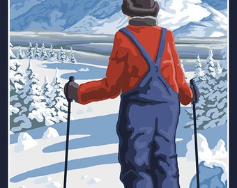 Couer D'Alene, Idaho - Skier Admiring (Art Prints available in multiple sizes)
