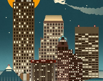 Memphis, Tennessee - Retro Skyline (Art Prints available in multiple sizes)