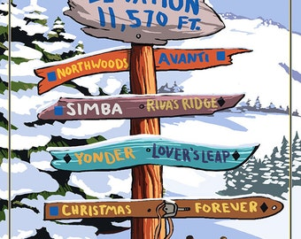 Vail, Colorado - Ski Signpost (Art Prints available in multiple sizes)